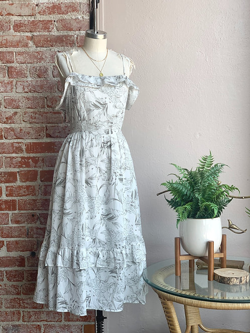 Etched flowers double ruffle midi