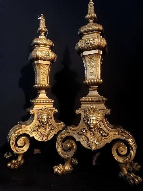Paire de chenets, style Louis XIV.