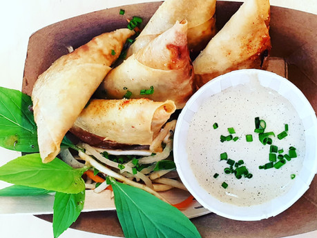 Wedding event catering Sussex Sneaky Duck mobile catering samosas