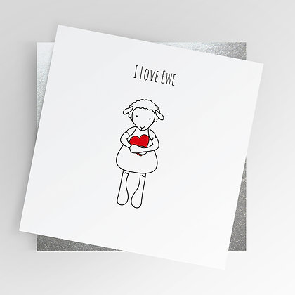 Sheep I Love Ewe Heart Illustrated Greetings Card