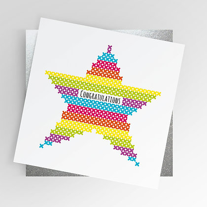 Sewing Cross stitch Congratulations Star Rainbow Illustrated Greetings Card