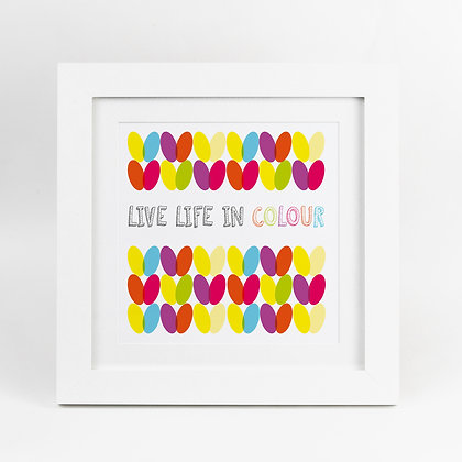 Knit Knitting Live Life in Colour Rainbow Illustrated Print