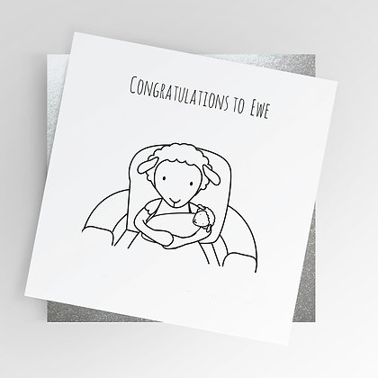 Sheep Congratulations to Ewe New Baby Christening Illustrated Greetings Card
