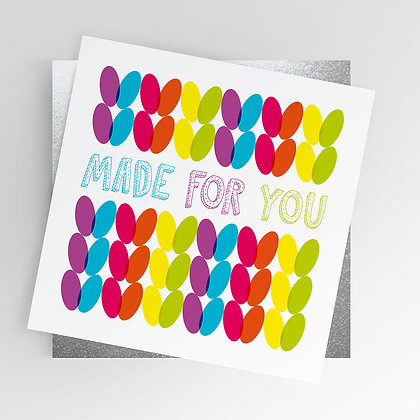 Knit Knitting Made for You Rainbow Illustrated Greetings Card