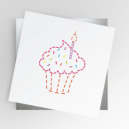 Sewing Stitching Cupcake Rainbow Illustrated Greetings Card