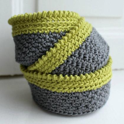 Crochet Pattern | Lime Crush Stacking Baskets UK Version