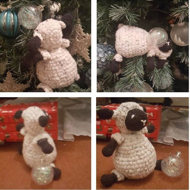Sheep Amigurumi getting up to mischief in a Christmas tree