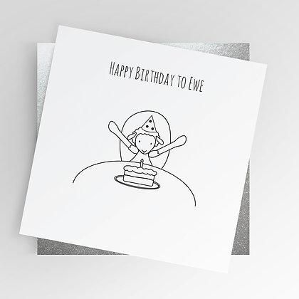 Sheep Happy Birthday to Ewe Illustrated Greetings Card