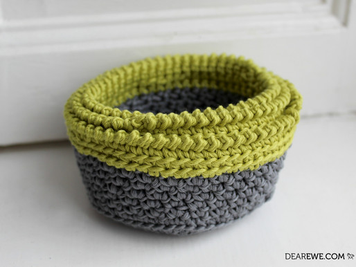 Happily Hooked Magazine | Lime Crush Stacking Baskets