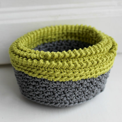 Crochet Pattern | Lime Crush Stacking Baskets US Version