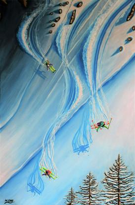 Ski Painting: Les filles au ski