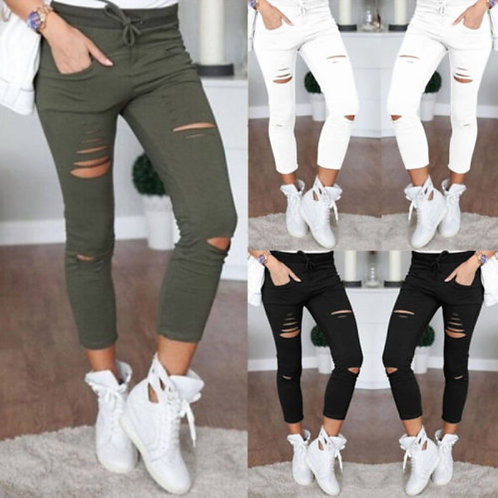 Fashion Streetwear Women Leggings Ladies Stretch Faded Ripped Slim Fit Skinny De