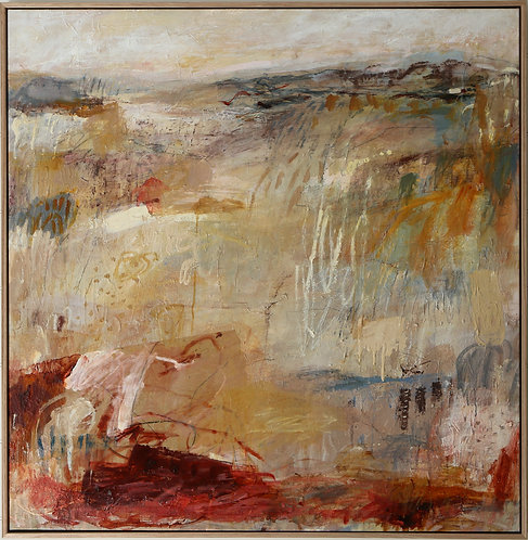 Contemporary pink, cream and ochre, expressive abstract landscape painting, large oak framed art