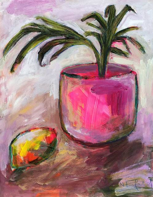 Potted Palm and Lemon, 27.9cm x 35.5cm