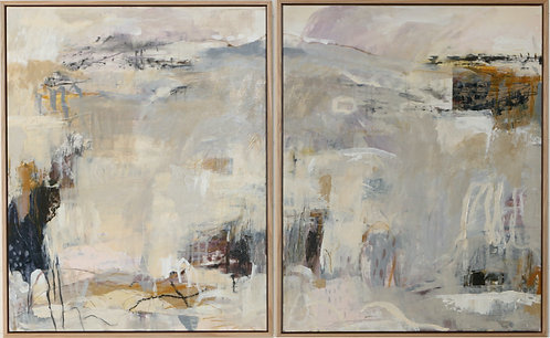 Pair of light and muted greys expressive abstract landscape paintings, large framed art