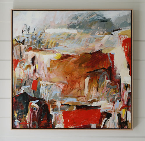 Contemporary expressive abstract beach painting, red, pink and blue, large oak framed art