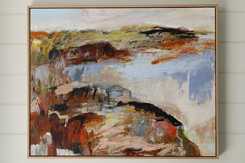 Contemporary expressive abstract landscape painting, large framed art