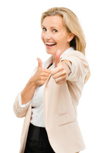 older woman thumbs up smile