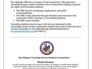 Abington Human Relations Commission is seeking to fill a vacancy