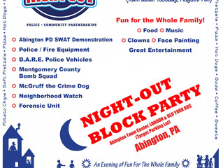 Abington Pre-Night Out scheduled for August 6 at 5:00 pm