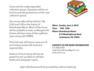 Old York Road Historical Society Open House on June 3