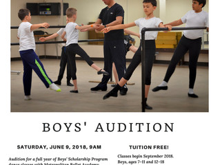 Metropolitan Ballet Boys Auditions on June 9th