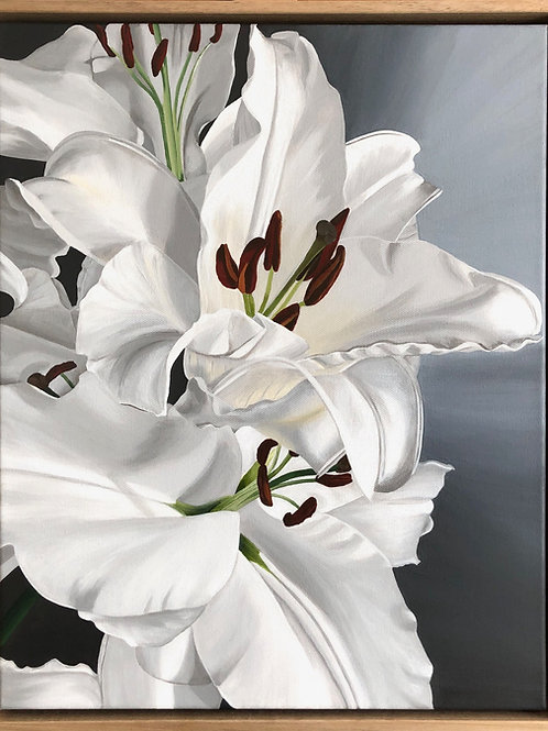 White Lilies Framed