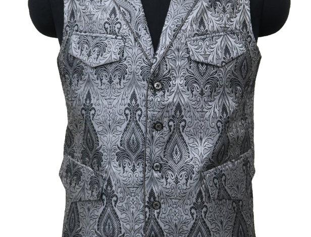 Silver/Black Brocade Vest by Freeborn Designs