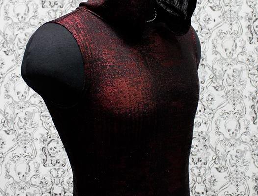 Red Metallic Sleeveless Hoodie