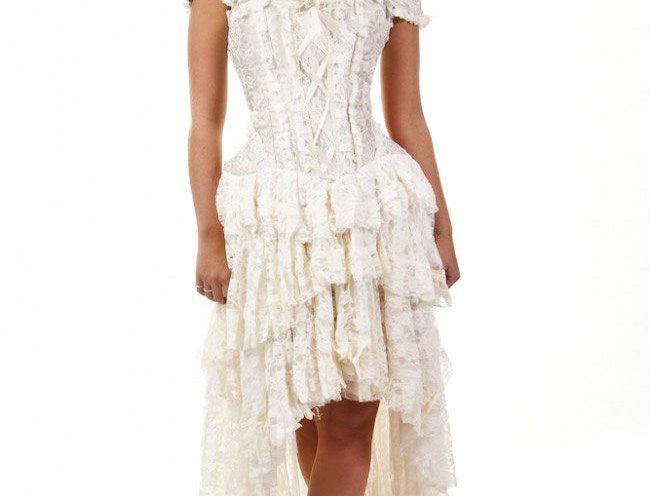 Ophelie Burlesque Corset Dress: Cream King Brocade