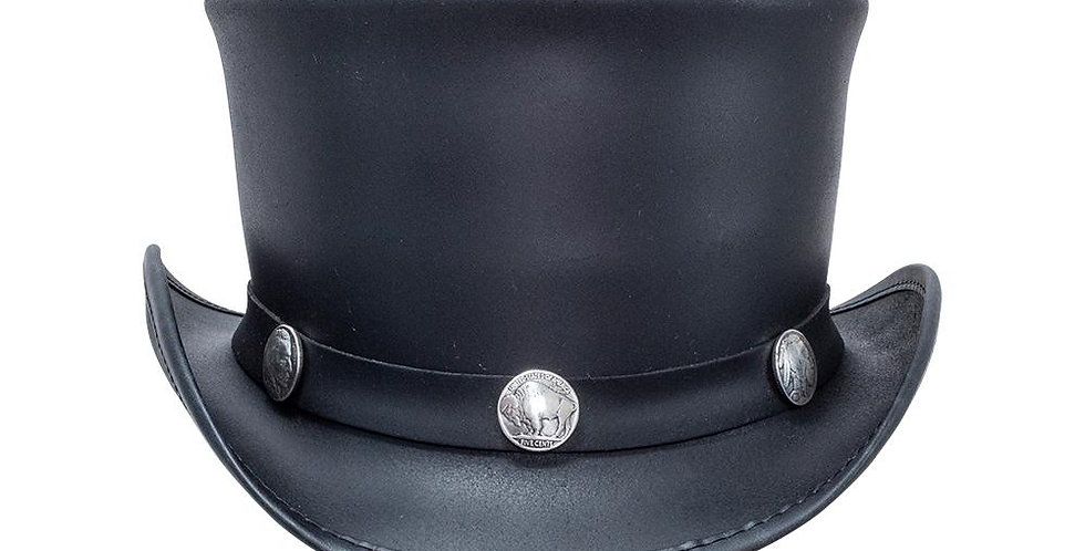 Leather Top Hat with Nickel Band