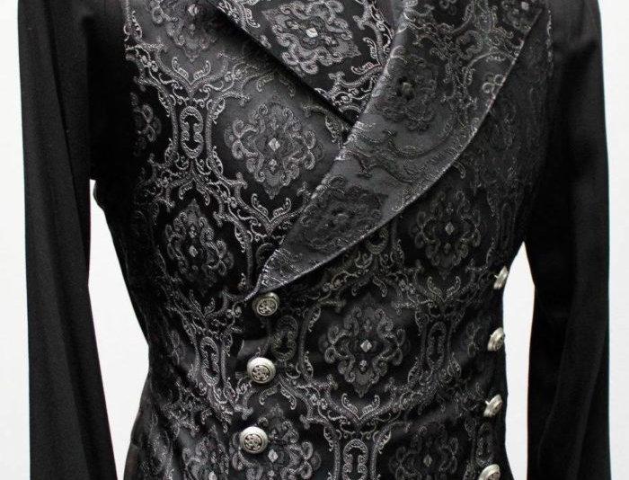 Black and Grey Brocade Shrine Vest