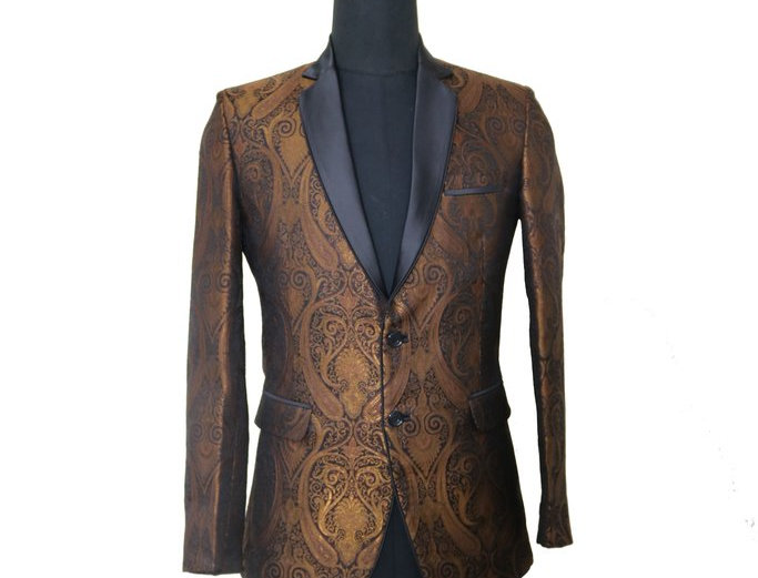 Freeborn.Bronze and Black Brocade Jacket