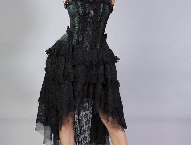 Ophelie Burlesque Corset Dress: Green King Brocade
