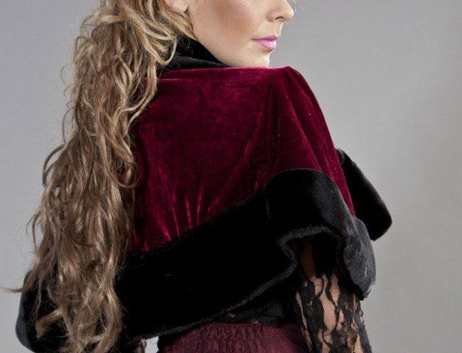 Victorian bolero shrug in burgundy velvet & black fur