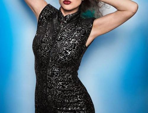 BLACK/SILVER STRETCH DAMASK Barberella Dress