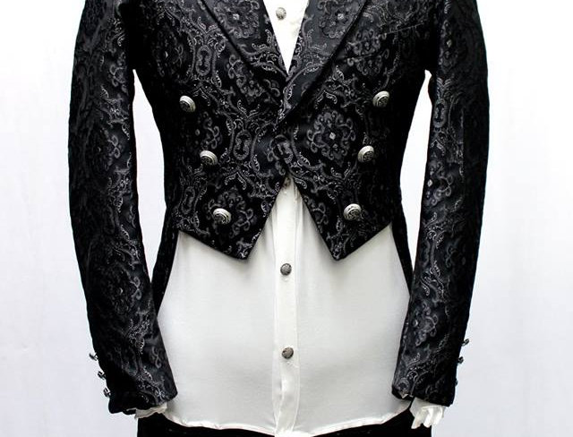 Shrine Black brocade Tailcoat