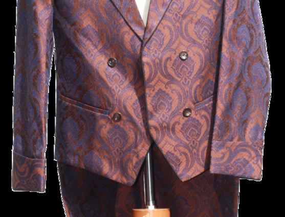 Freeborn Brown/Blue brocade tailcoat