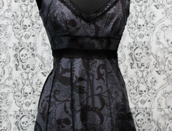 Shrine  Cocktail Dress Black Gothic Print