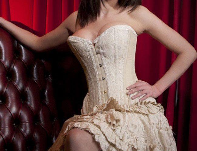 Petra overbust long line corset in cream taffeta & cream lace overlay