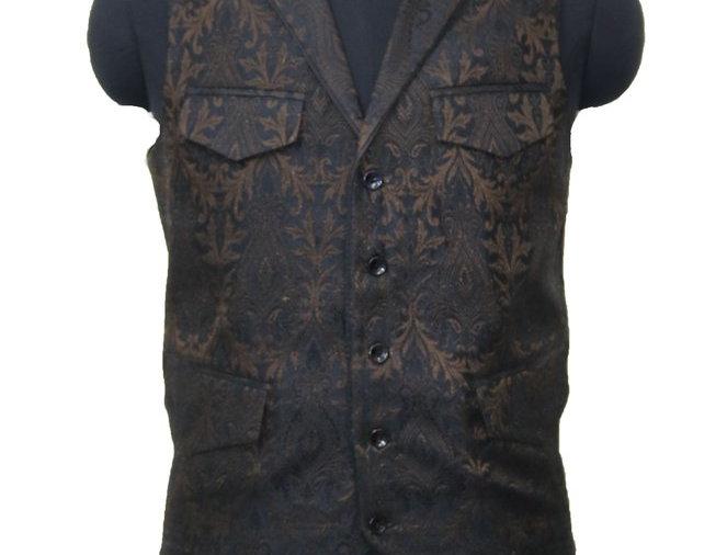 Freeborn Brown and Black Brocade Vest