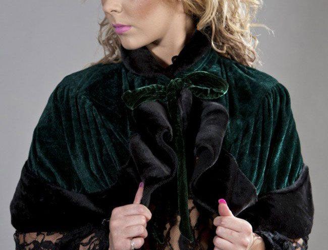 Victorian bolero shrug in green velvet & black fur