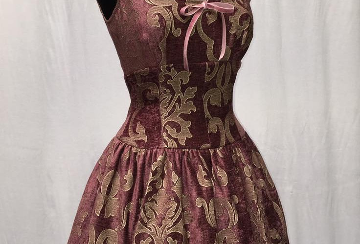 VELVET BALLET DRESS:  Gold on Rose