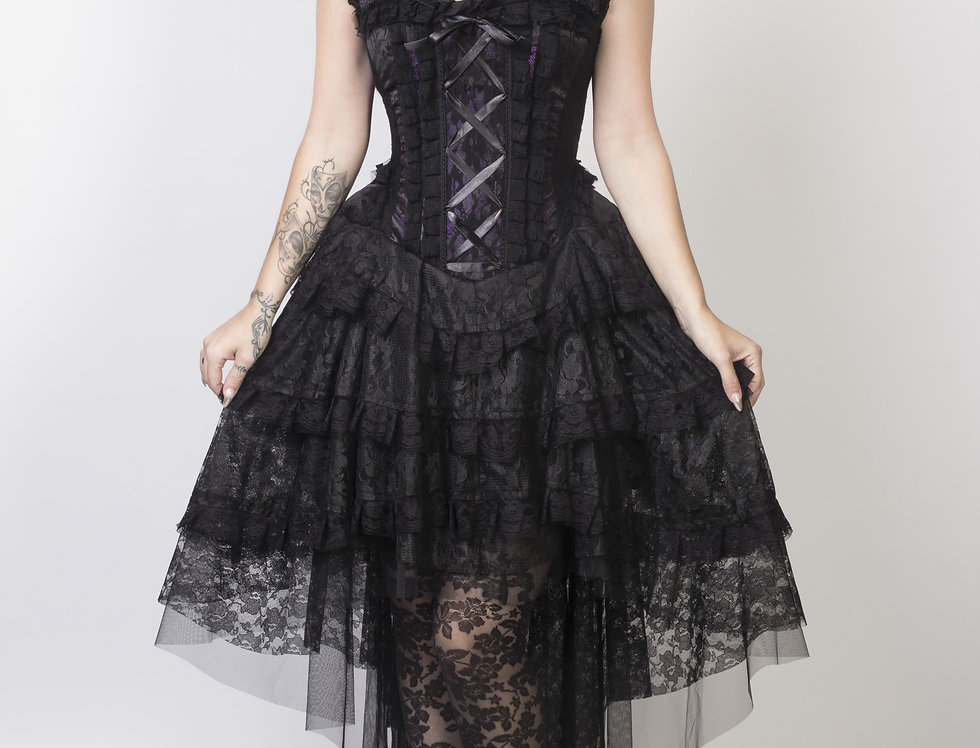 Ophelie Burlesque Corset Dress: Purple King Brocade