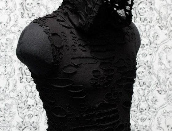 shrine black distressed sleeveless hoodie