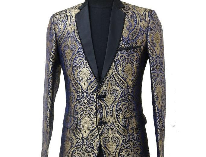 Freeborn Blue and Gold Paisley Jacket