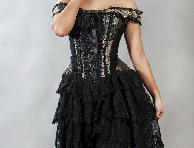 Ophelie Burlesque Corset Dress: Gold King Brocade