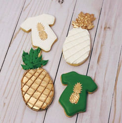 Tropical theme baby shower cookies