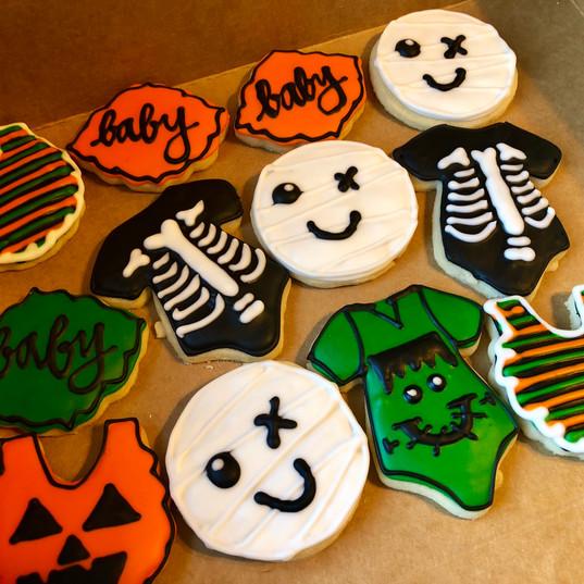 Halloween baby shower cookies