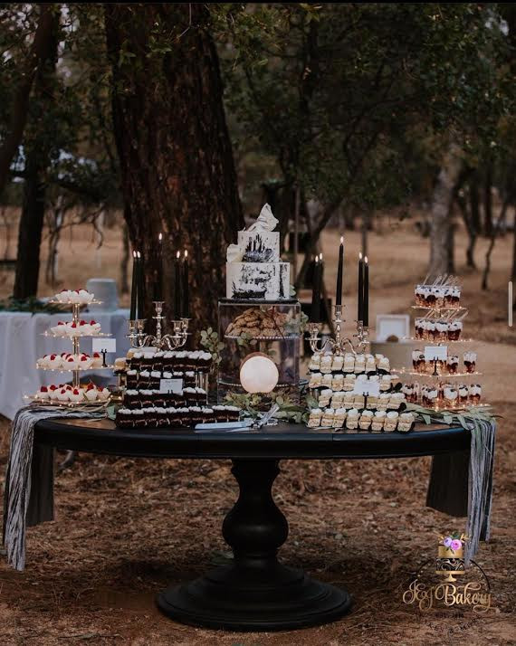 Dessert table with mini cake slices